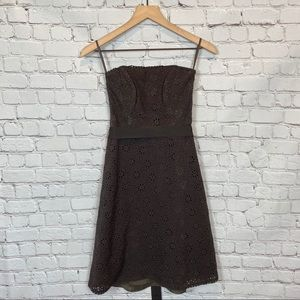 Banana Republic Brown Strapless Eyelet Dress 0